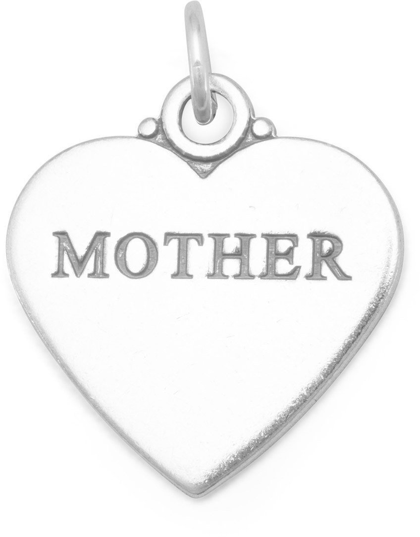 "Oxidized ""MOTHER"" Heart Charm 925 Sterling Silver"