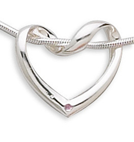 Puffed Heart Slide with Pink CZ 925 Sterling Silver