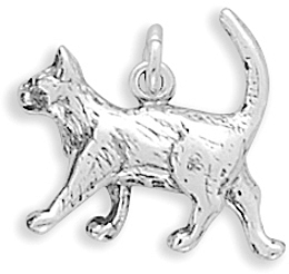 Walking Cat Charm 925 Sterling Silver