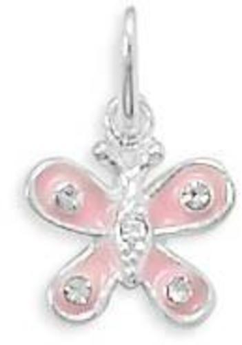 Pink Enamel and Clear Crystal Butterfly Charm 925 Sterling Silver