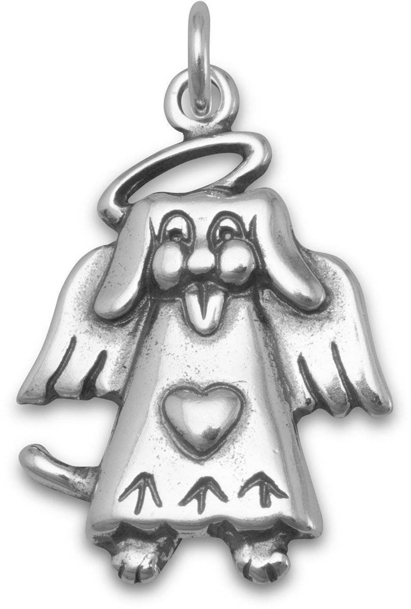 Dog Angel Charm 925 Sterling Silver