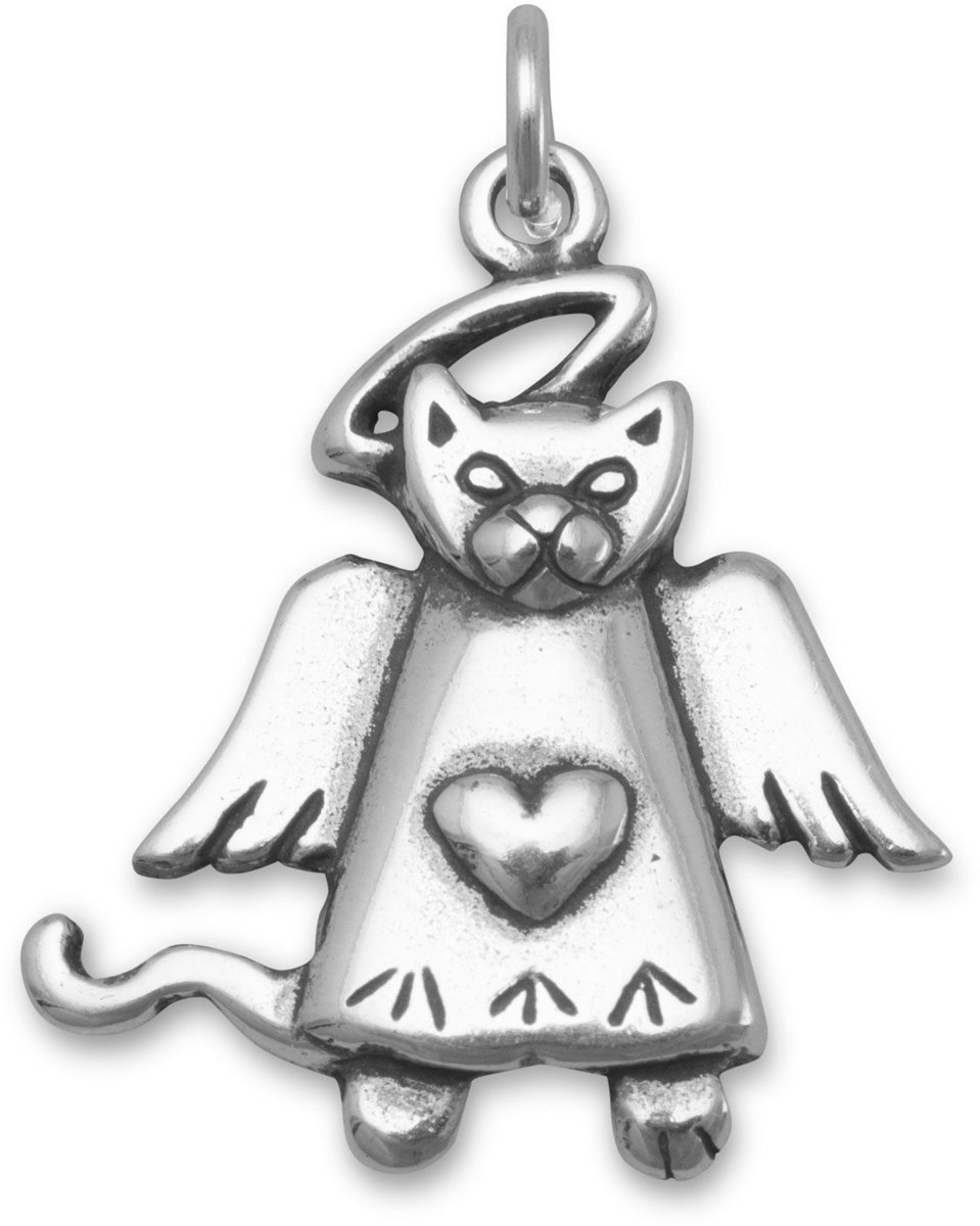 Cat Angel Charm 925 Sterling Silver