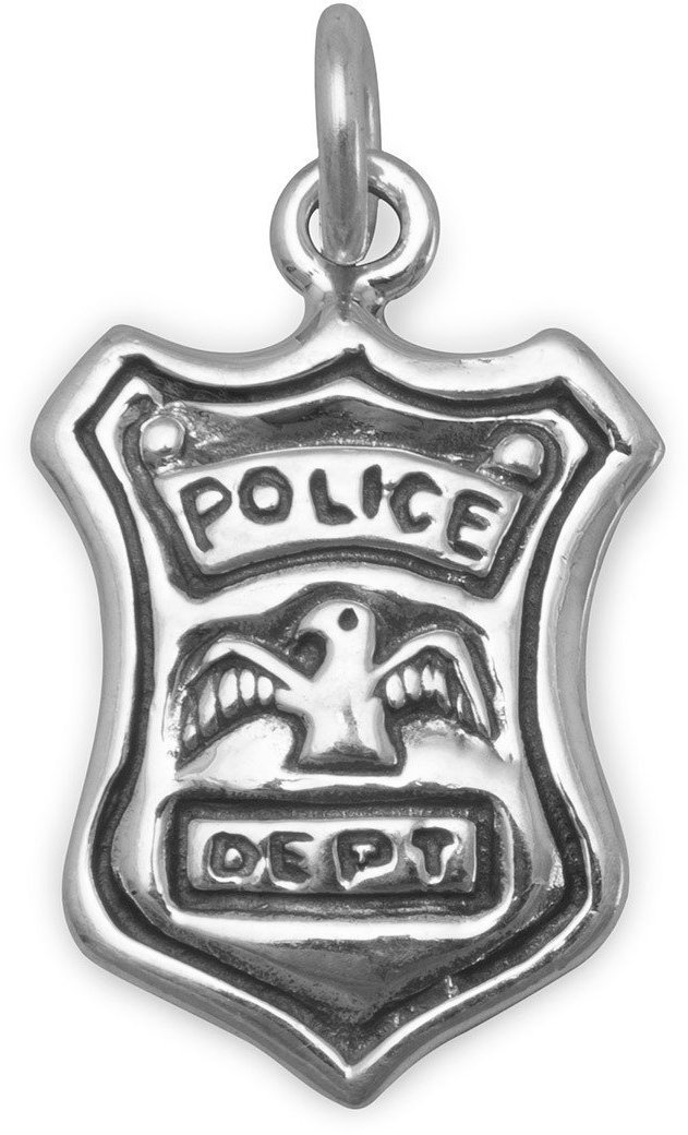 Police Shield Charm 925 Sterling Silver