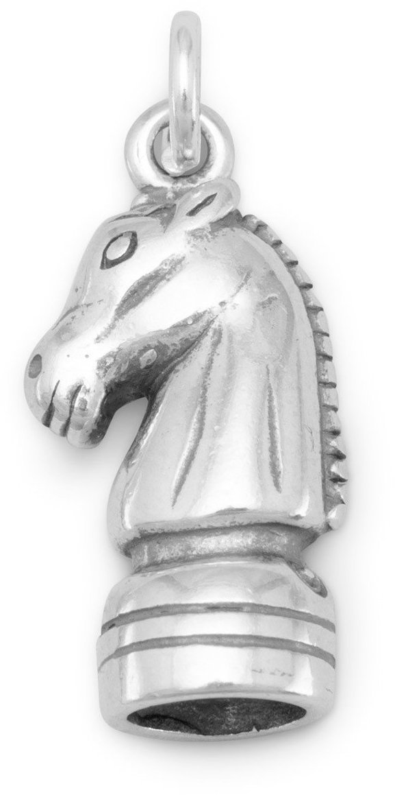 Knight Chess Piece Charm 925 Sterling Silver