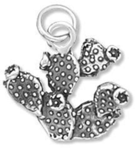 Prickly Pear Cactus Charm 925 Sterling Silver