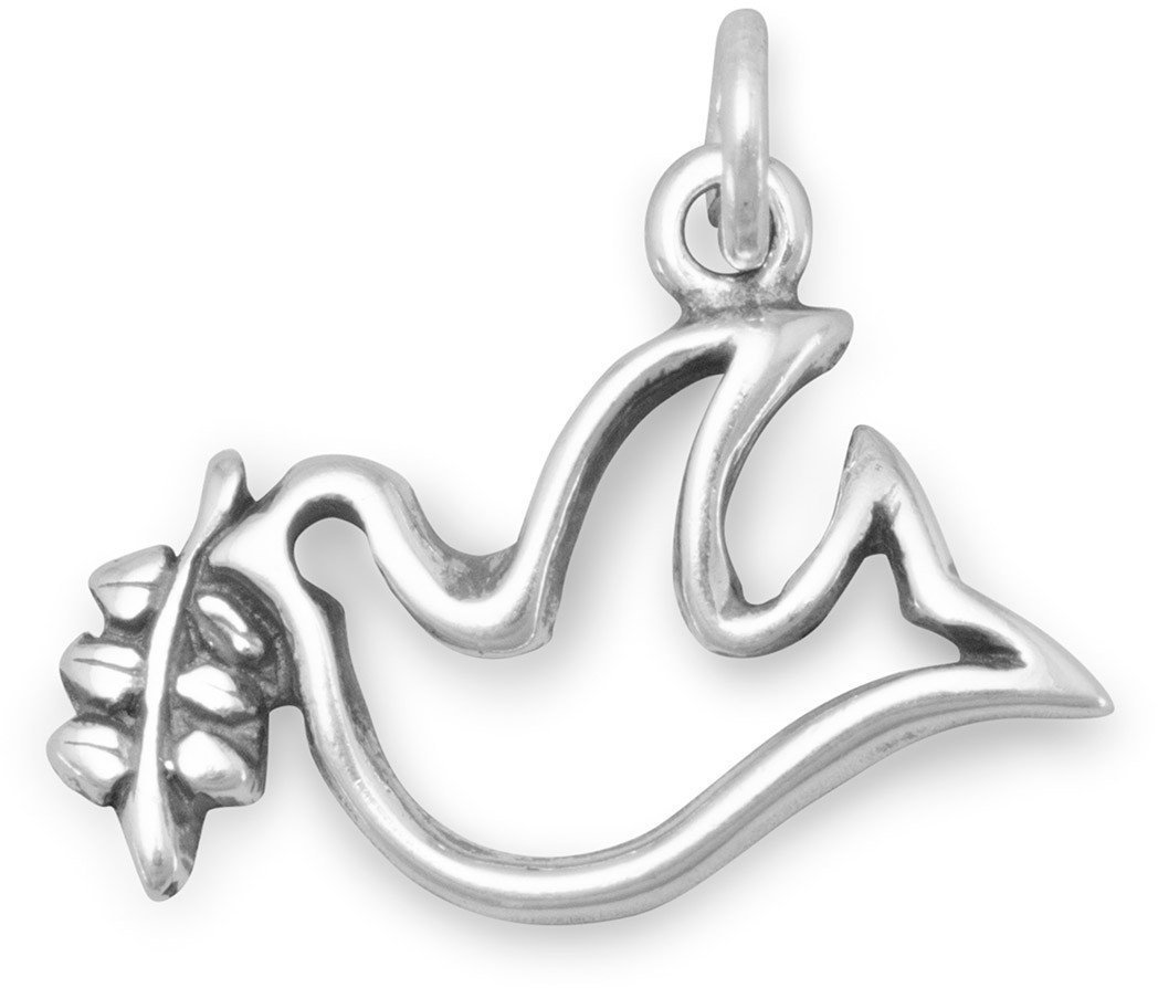 Dove with Olive Branch Charm 925 Sterling Silver