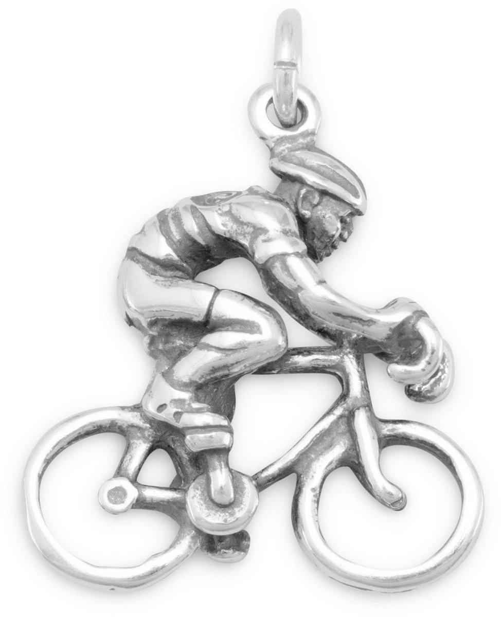Cyclist Charm 925 Sterling Silver