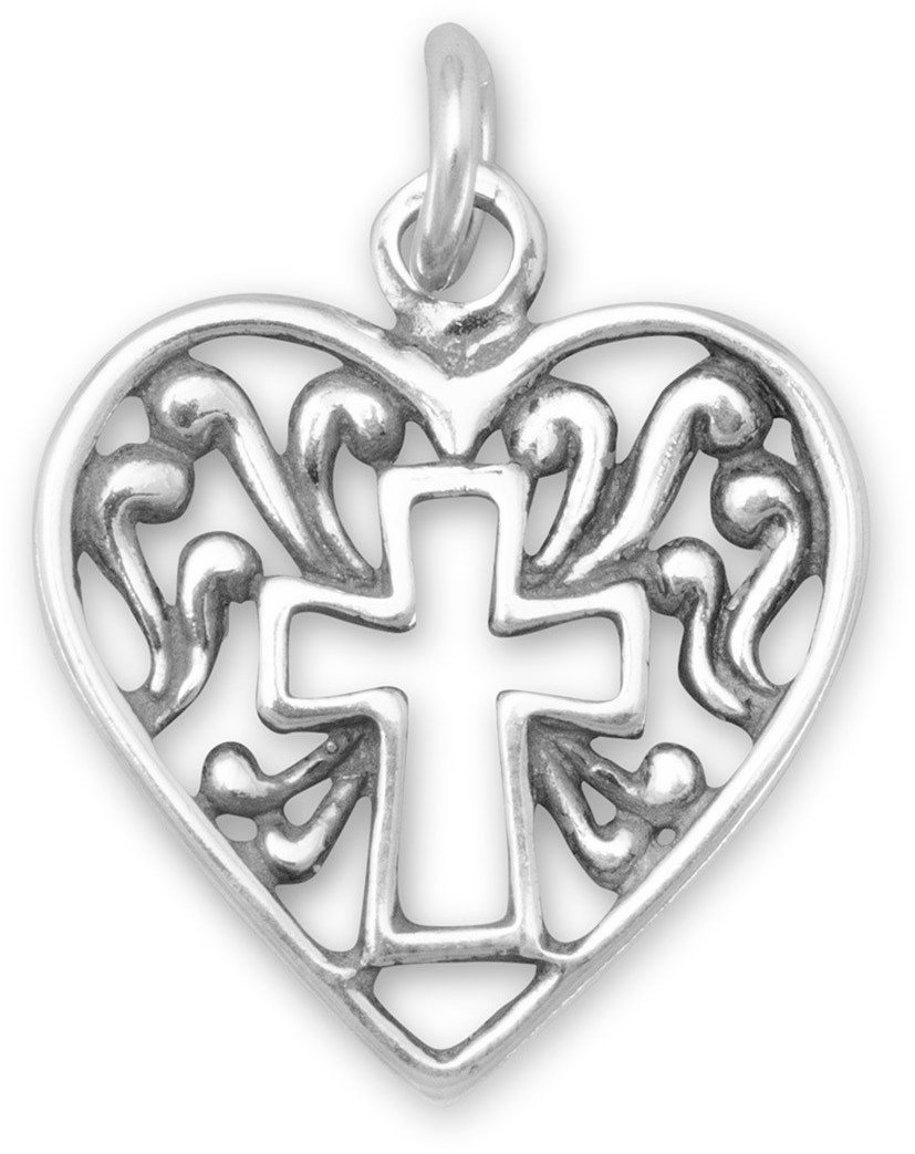 Heart Charm with Cross Outline 925 Sterling Silver