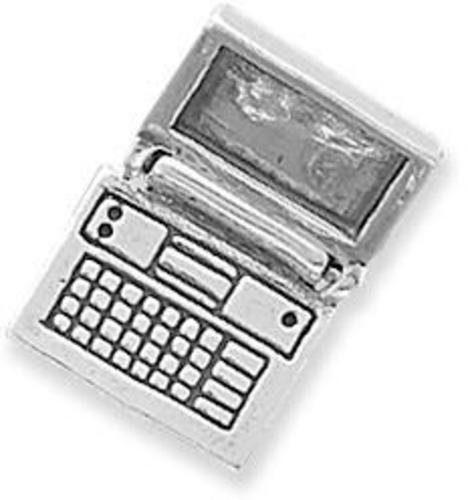 Movable Laptop Computer Charm 925 Sterling Silver