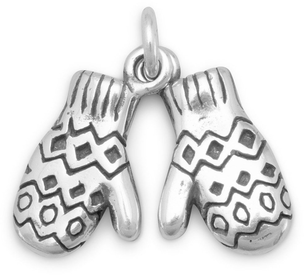 Oxidized Mittens Charm 925 Sterling Silver