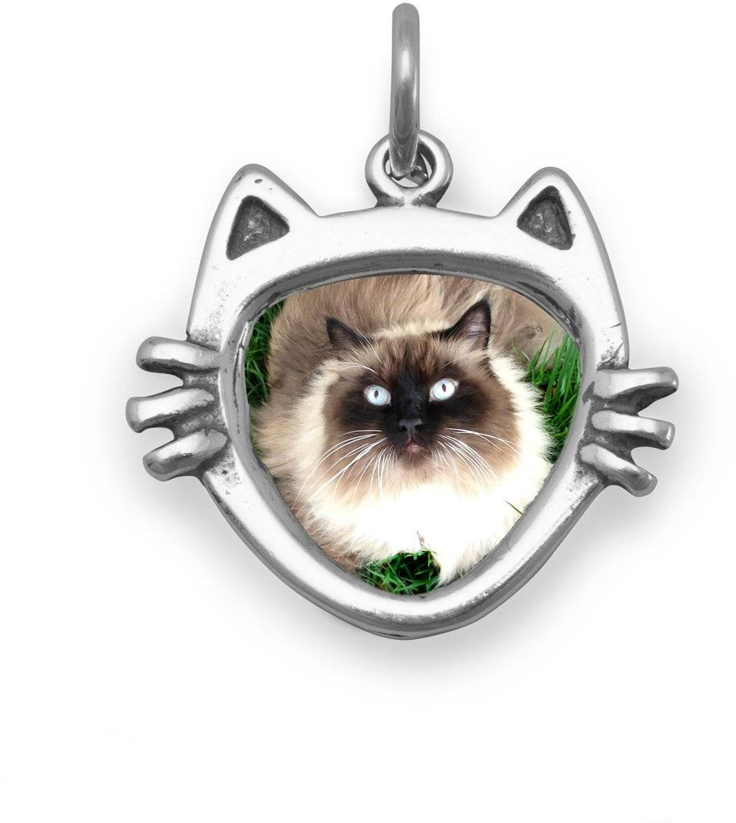 Cat Face Picture Frame Charm 925 Sterling Silver