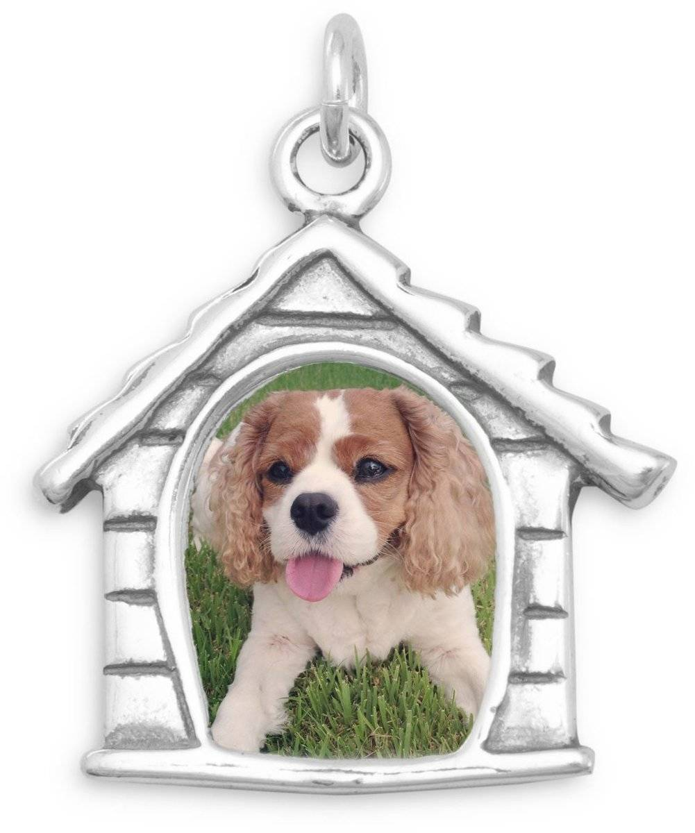 Dog House Picture Frame Charm 925 Sterling Silver