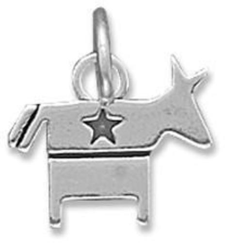 Democratic Donkey Charm 925 Sterling Silver