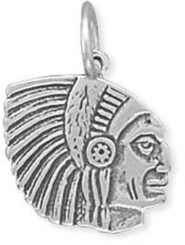 Indian Chief Charm 925 Sterling Silver
