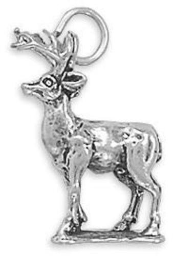 8 Point Buck Charm 925 Sterling Silver