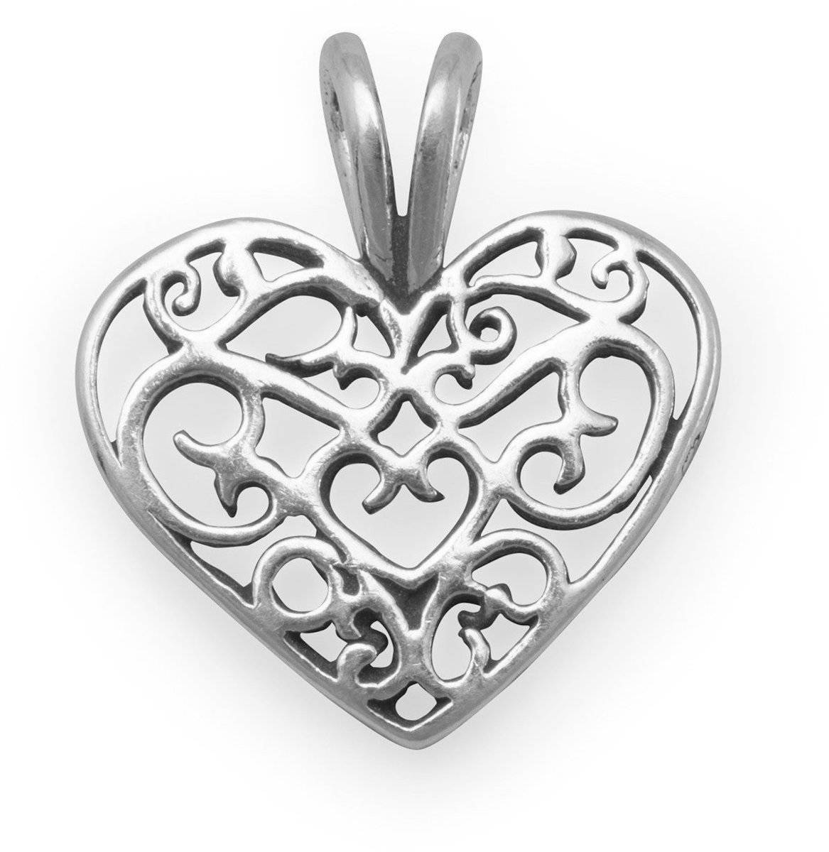 Filigree Heart Charm 925 Sterling Silver