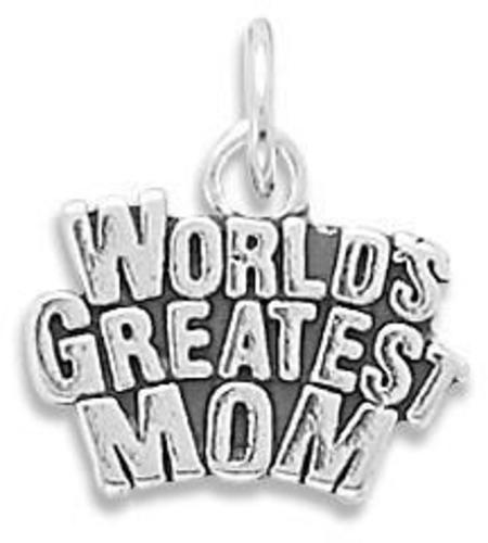 World's Greatest Mom Charm 925 Sterling Silver
