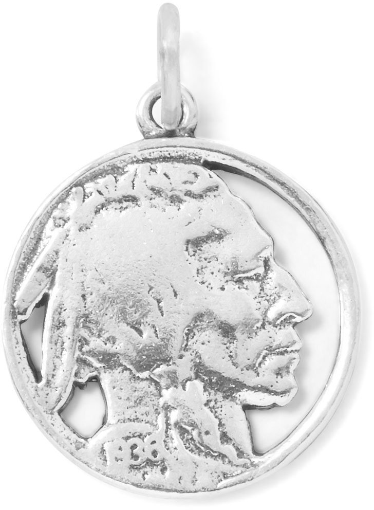 Indian Head Nickel Charm 925 Sterling Silver
