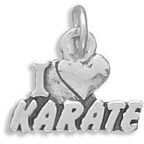 I Love Karate Charm 925 Sterling Silver
