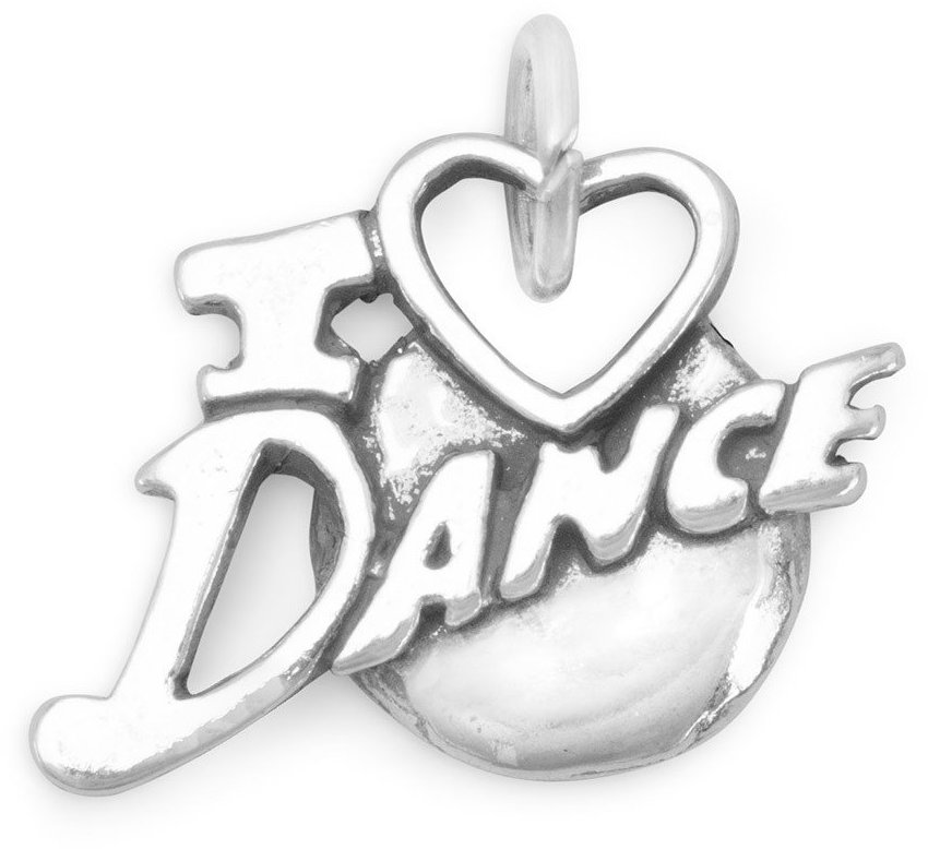 I Love Dance Charm 925 Sterling Silver
