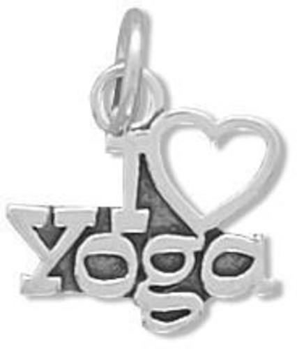 I Love Yoga Charm 925 Sterling Silver