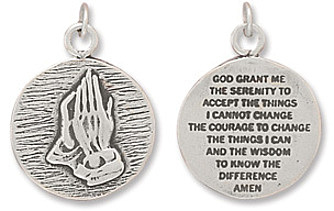 Reversible Charm with Praying Hands and Serenity Prayer 925 Sterling Silver