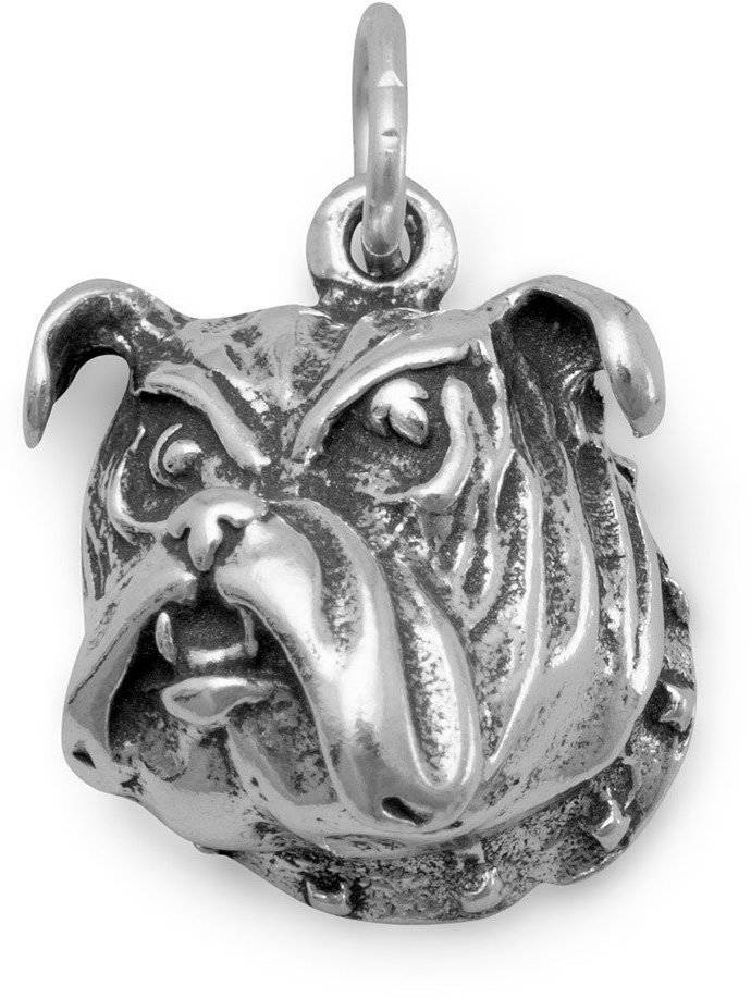 Bulldog Face Charm 925 Sterling Silver