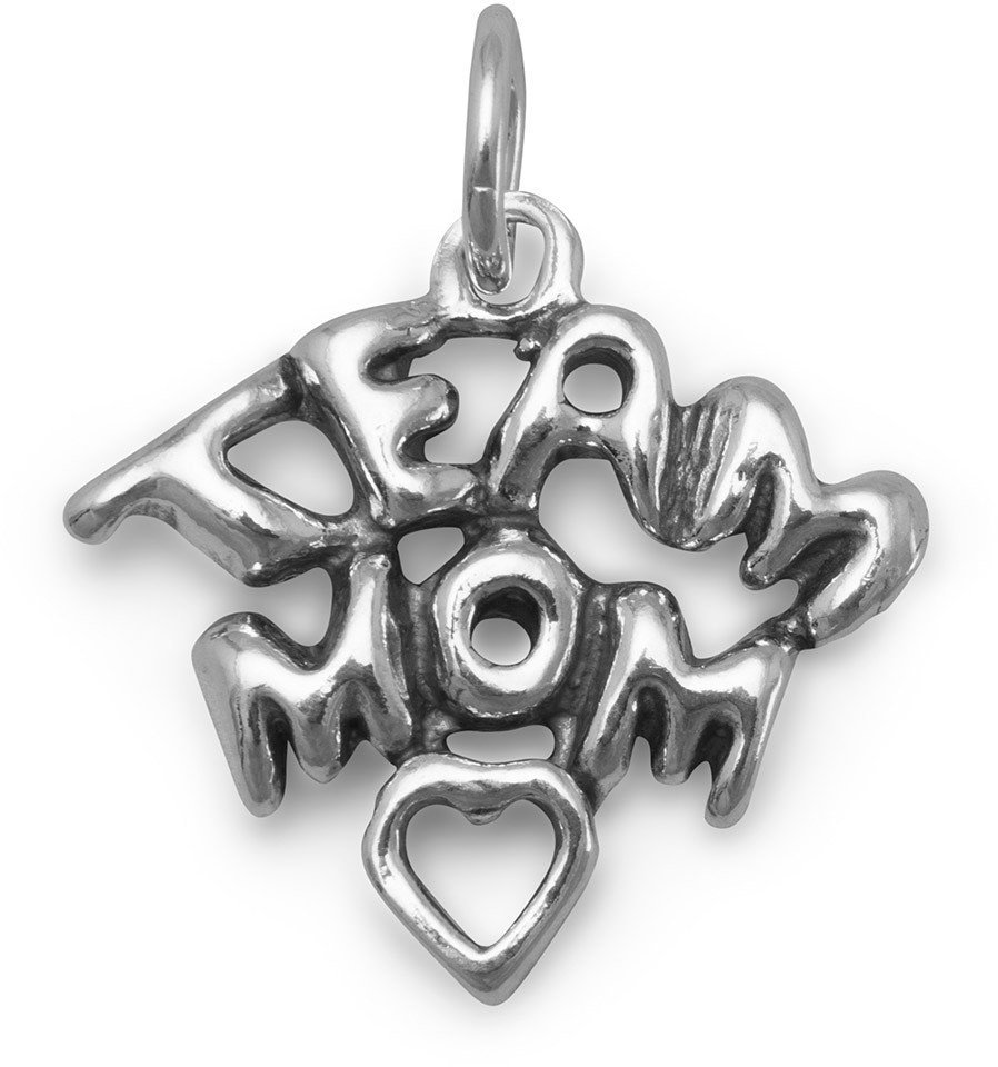 Team Mom Charm 925 Sterling Silver
