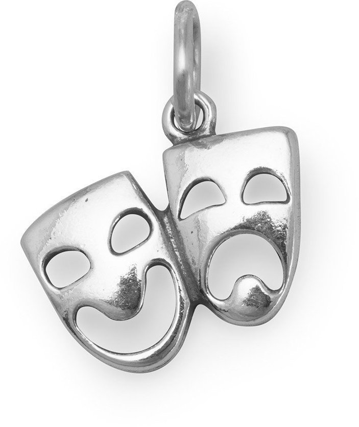 Comedy and Tragedy Mask Charm 925 Sterling Silver