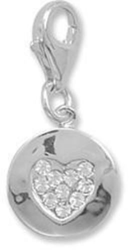 Crystal Heart on a Disc Charm with Lobster Clasp 925 Sterling Silver