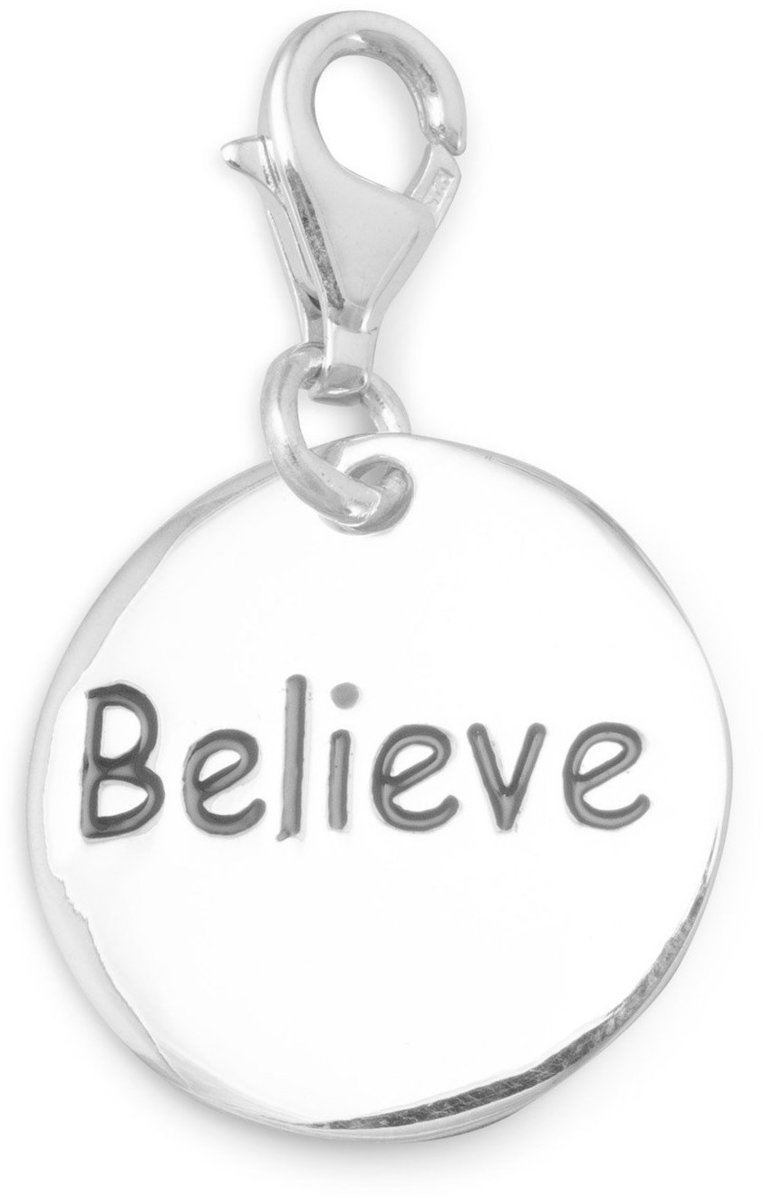 Believe Charm with Lobster Clasp 925 Sterling Silver