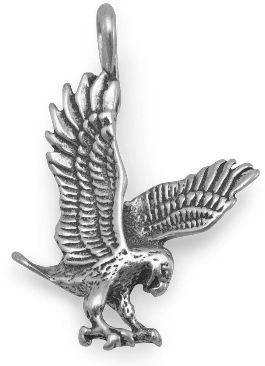 Oxidized Landing Eagle Charm 925 Sterling Silver