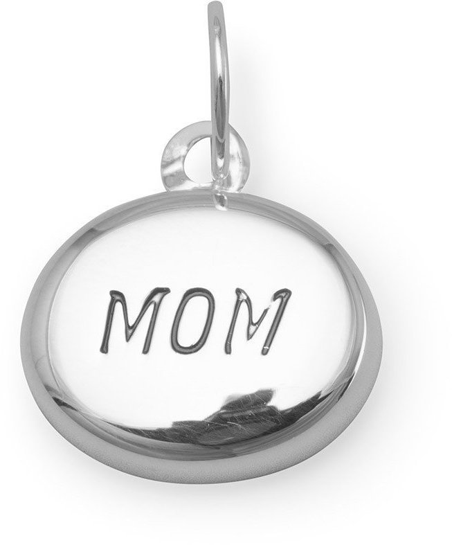 "Puffed ""MOM"" Charm 925 Sterling Silver"