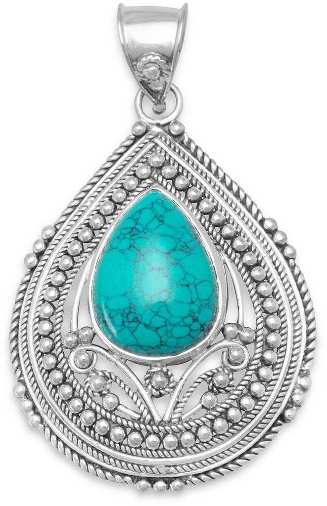 Oxidized Pendant with Scroll and Bead Design Edge and Turquoise Stone Center 925 Sterling Silver