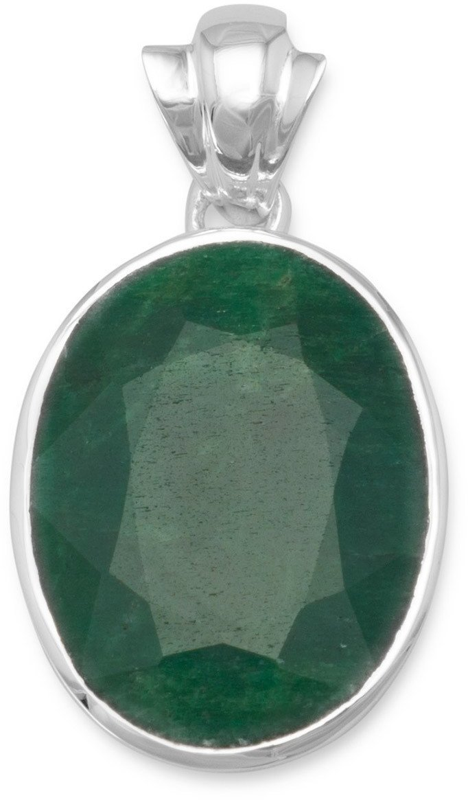 Oval Faceted Rough-Cut Emerald Pendant 925 Sterling Silver
