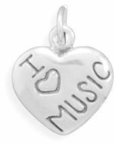 I Love MUSIC Charm 925 Sterling Silver