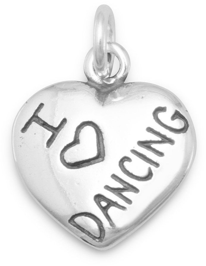 I Love DANCING Charm 925 Sterling Silver