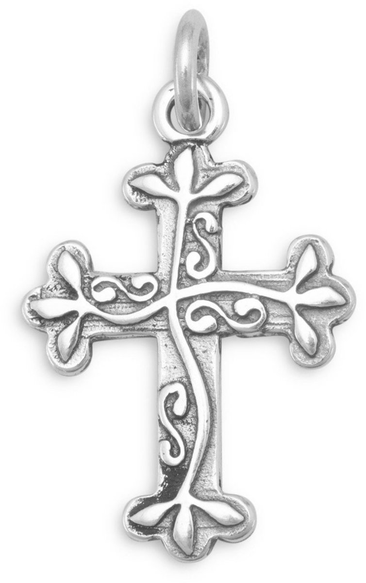 Oxidized Reversible Cross Charm 925 Sterling Silver