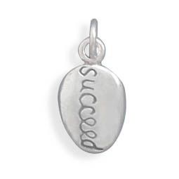 "Oxidized Reversible ""succeed"" Charm 925 Sterling Silver - LIMITED STOCK"