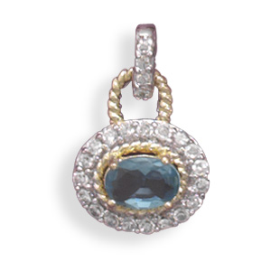 Rhodium Plated and 14 Karat Gold Plated Blue and Clear CZ Pendant 925 Sterling Silver - LIMITED STOCK