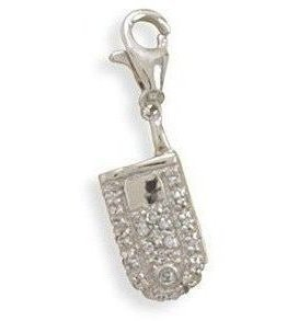 Rhodium Plated CZ Cell Phone Charm 925 Sterling Silver