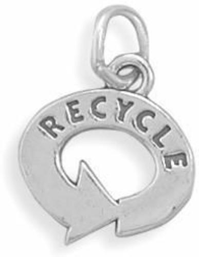 Recycle Symbol Charm 925 Sterling Silver