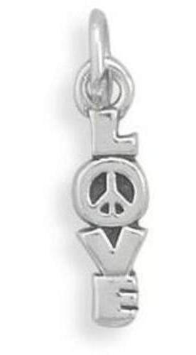 """LOVE"" Charm with Peace Sign 925 Sterling Silver"