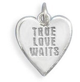 True Love Waits Heart Charm 925 Sterling Silver - LIMITED STOCK