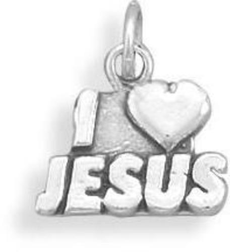 "Oxidized ""I Love Jesus"" Charm 925 Sterling Silver"