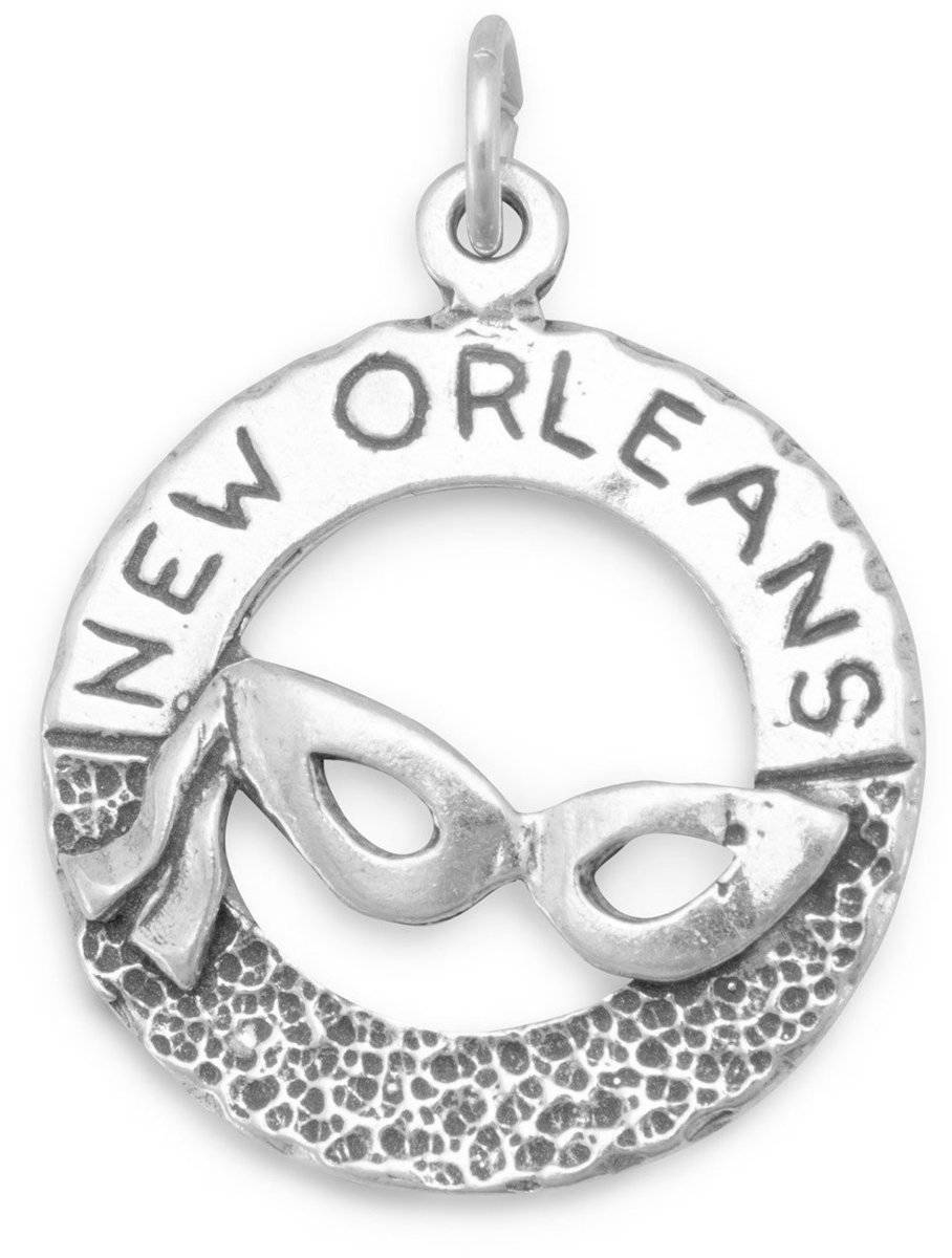 """New Orleans"" and Mask Charm 925 Sterling Silver"
