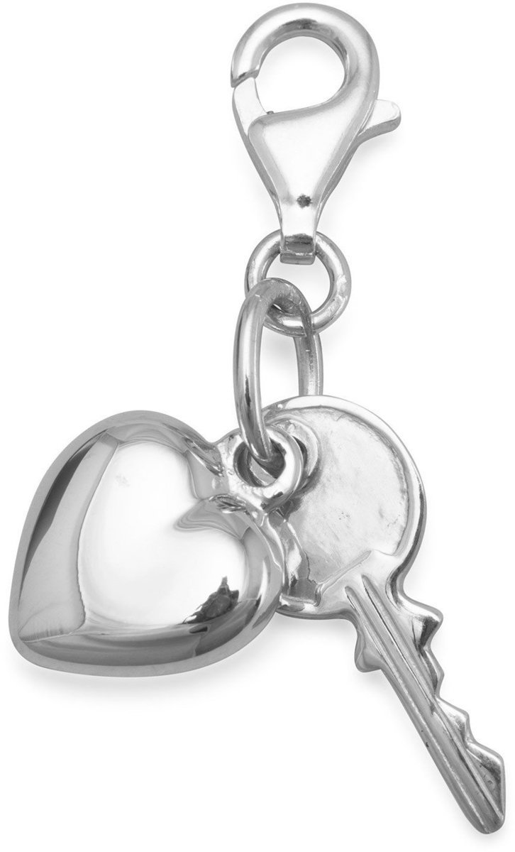 Heart and Key Charm with Lobster Clasp 925 Sterling Silver