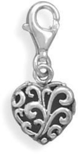 Heart Charm with Lobster Clasp 925 Sterling Silver