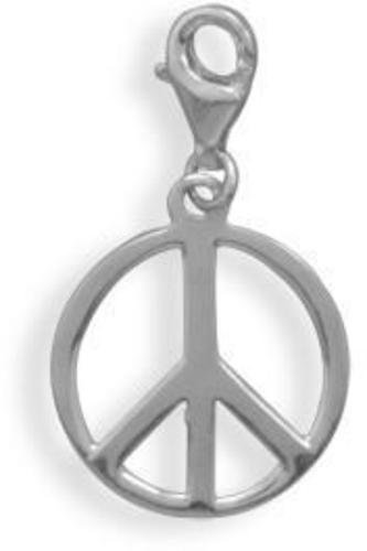 Peace Sign Charm 925 Sterling Silver