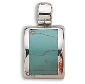 Domed Inlay Imitation Turquoise Slide 925 Sterling Silver - LIMITED STOCK